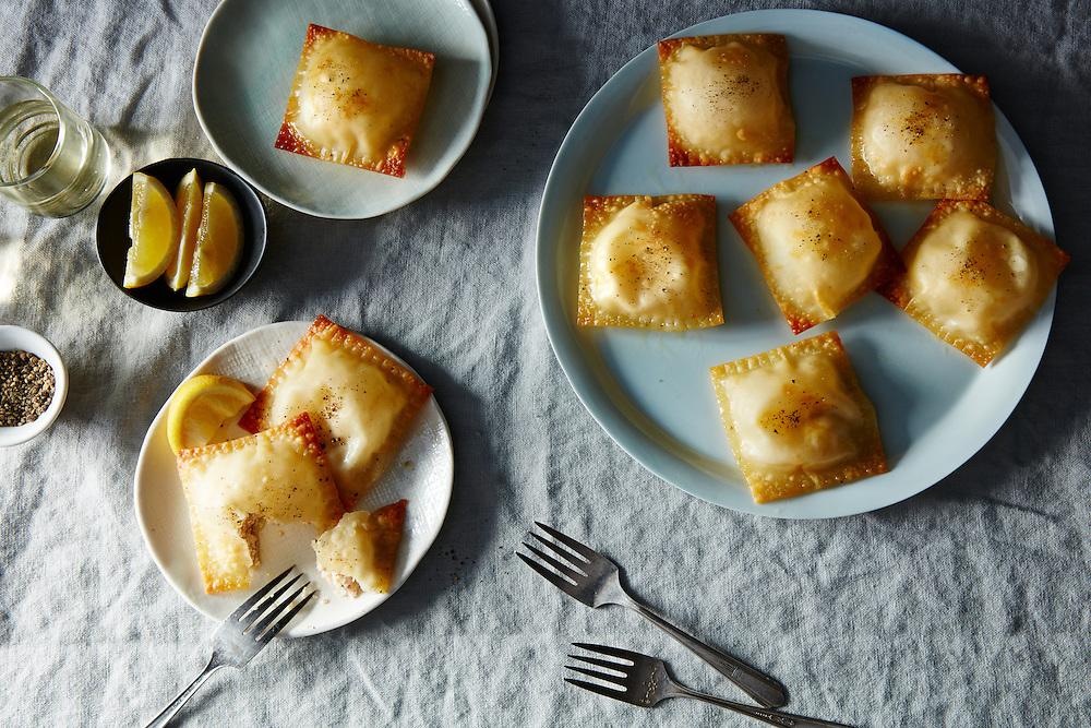 baked ricotta and smoked salmon dumplings in gyoza skin