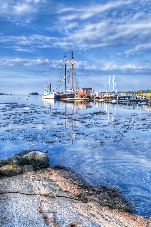 Boats in the harbor at Boothbay, Maine. HDR.