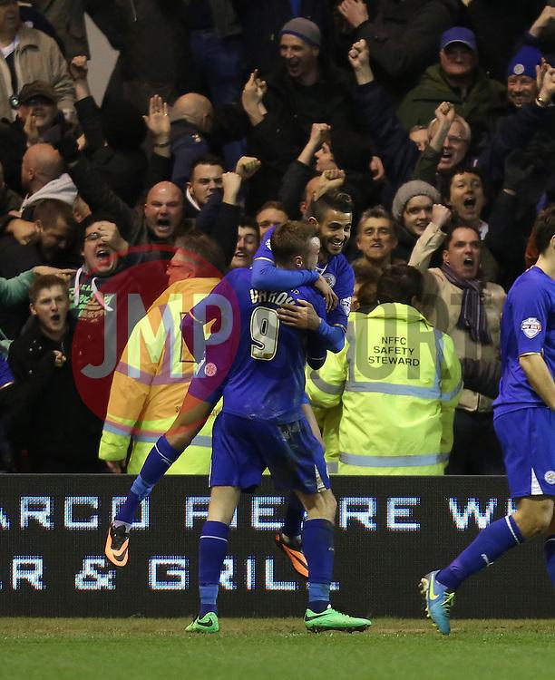 Leicester City's Riyad Mahrez celebrates the goal - Photo mandatory by-line: Matt Bunn/JMP - Tel: Mobile: 07966 386802 19/02/2014 - SPORT - FOOTBALL - City Ground - Nottingham - Nottingham Forest  v Leicester City - Sky Bet Championship