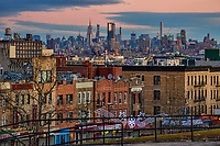 Sunset Park Neighborhood & Midtown Manhattan (background)