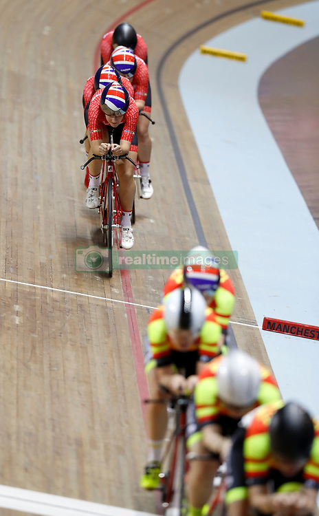 Team Breeze led by Rebecca Raybould, Jenny Holl, Abigail Dentus and Jessica Roberts prepare to catch Team Backstedt-Hotchillee, before winning the Team Pursuit Final, during day two of the HSBC UK National Track Championships at The National Cycling Centre, Manchester.