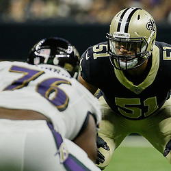 Aug 31, 2017; New Orleans, LA, USA; New Orleans Saints linebacker Manti Te'o (51) against the Baltimore Ravens  during the first half of a preseason game at the Mercedes-Benz Superdome. Mandatory Credit: Derick E. Hingle-USA TODAY Sports