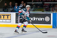 KELOWNA, CANADA - JANUARY 3: Gage Quinney #20 of Kelowna Rockets skates with the puck against the Prince George Cougars on January 3, 2015 at Prospera Place in Kelowna, British Columbia, Canada.  (Photo by Marissa Baecker/Shoot the Breeze)  *** Local Caption *** Gage Quinney;