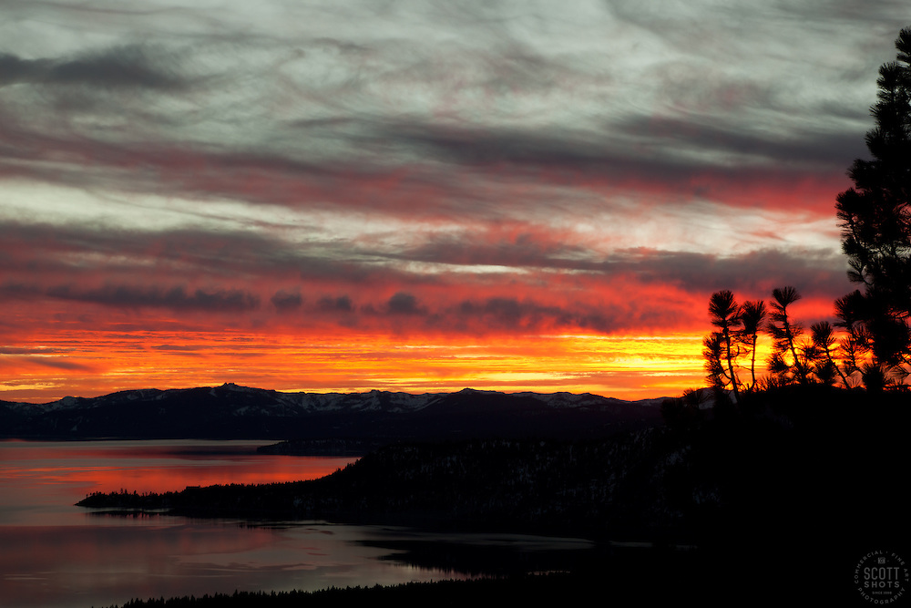 """""""Sunset at Lake Tahoe 20"""" - This orange and yellow sunset at Lake Tahoe was photographed from the vista point on Hwy  431, or Mount Rose Highway."""