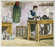 Glass cutter decorating table ware on a carborumdum wheel.   He turns the wheel  by working a treadle with his foot.  From 'Alphabet des Arts et Metiers', (Paris, 1867) Engraving.