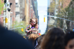 April 28, 2019 - New York, New York, United States - A young girl seen sitting on her father's shoulder during the march..Annual 81st March of Dimes, a march for Babies to support healthy for moms and strong babies. The march was along Lexington Avenue in New York City. (Credit Image: © Ryan Rahman/SOPA Images via ZUMA Wire)