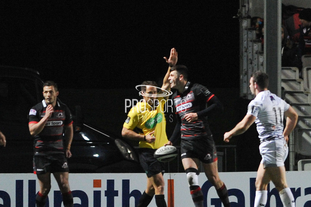 Blair Kinghorn scores try during the Guinness Pro 14 2017_18 match between Edinburgh Rugby and Ospreys at Myreside Stadium, Edinburgh, Scotland on 4 November 2017. Photo by Kevin Murray.