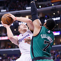 08 January 2014: Los Angeles Clippers power forward Blake Griffin (32) is fouled by Boston Celtics power forward Jared Sullinger (7) during the Los Angeles Clippers 111-105 victory over the Boston Celtics at the Staples Center, Los Angeles, California, USA.