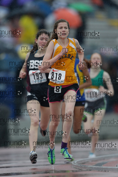 Claire Smith of Glebe CI - Ottawa competes at the 2013 OFSAA Track and Field Championship in Oshawa Ontario, Thursday,  June 6, 2013.<br /> Mundo Sport Images/ Geoff Robins