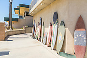 Cement Surfboards Sculptures Lining the Restroom Walls by Huntington Beach Pier