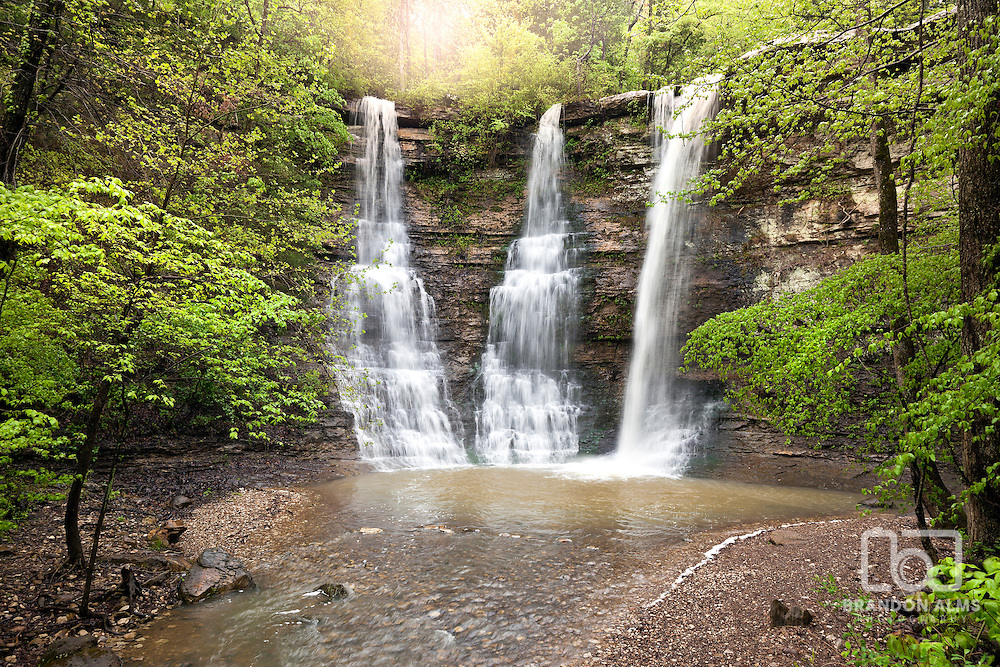 Triple Falls Waterfalls located in the Buffalo National River Wilderness Area in Arkansas. Actually named Twin Falls, this location flows with 3 waterfalls during a heavy rainy season.