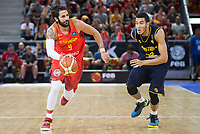 Spain's Ricky Rubio and Venezuela's Anthony Perez during friendly match for the preparation for Eurobasket 2017 between Spain and Venezuela at Madrid Arena in Madrid, Spain August 15, 2017. (ALTERPHOTOS/Borja B.Hojas)