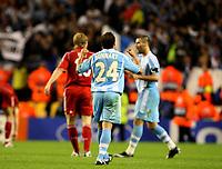 Photo: Paul Greenwood.<br />Liverpool v Marseille. UEFA Champions League, Group A. 03/10/2007.<br />Marseille's Laurent Bonnart celebrates victory
