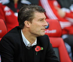 Swansea City Manager, Michael Laudrup - Photo mandatory by-line: Alex James/JMP - Tel: Mobile: 07966 386802 03/11/2013 - SPORT - FOOTBALL - The Cardiff City Stadium - Cardiff - Cardiff City v Swansea City - Barclays Premier League