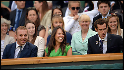 Great Britain's Olympians Andy Murray and Sir Chris Hoy in the royal box at The Wimbledon Tennis Championships<br /> The All England Lawn Tennis Club, Wimbledon, United Kingdom<br /> Saturday, 29th June 2013<br /> Picture by Andrew Parsons / i-Images