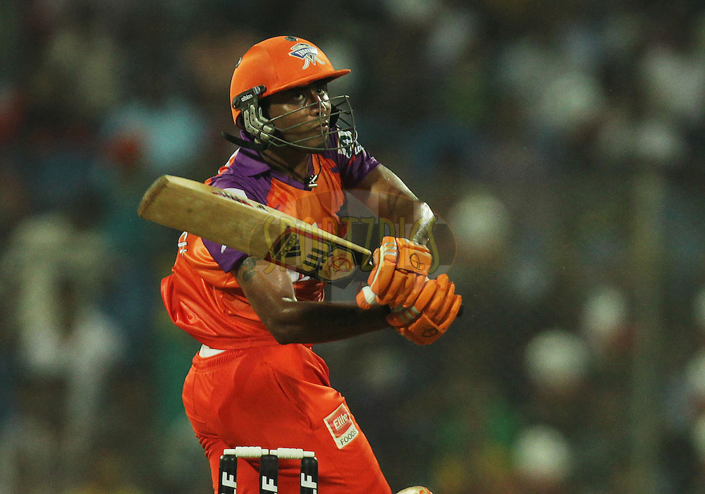 Ravindra Jadeja of Kochi Tuskers Kerala bats during  match 10 of the Indian Premier League ( IPL ) Season 4 between the Pune Warriors and the Kochi Tuskers Kerala held at the Dr DY Patil Sports Academy, Mumbai India on the 13th April 2011..Photo by BCCI/SPORTZPICS