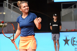 May 11, 2017 - Madrid, Spain - SIMONA HALEP of Romania celebrates winning her quarterfinal match v. C. Vandeweghe in the Mutua Madrd Open tennis tournament. (Credit Image: © Christopher Levy via ZUMA Wire)