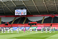 Football - 2019 / 2020 Championship - Swansea City vs Sheffield Wednesday<br /> <br /> Both teams clap before ko <br /> in a match played with no crowd due to Covid 19 coronavirus emergency regulations, at the almost empty Liberty Stadium.<br /> <br /> COLORSPORT/WINSTON BYNORTH