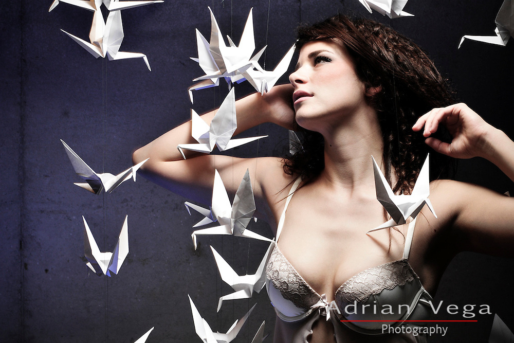 Dreamy image in lingerie and origami paper cranes