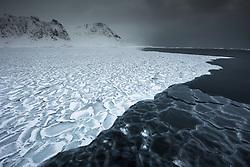 Raudfjorden in March at the northern tip of Spitsbergen, Svalbard, Norway