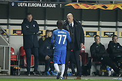 February 14, 2019 - Prague, CZECH REPUBLIC - Genk's Dieumerci Ndongala and Genk's head coach Philippe Clement pictured during a soccer game between Czech club SK Slavia Praha and Belgian team KRC Genk, the first leg of the 1/16 finals (round of 32) in the Europa League competition, Thursday 14 February 2019 in Prague, Czech Republic. BELGA PHOTO YORICK JANSENS (Credit Image: © Yorick Jansens/Belga via ZUMA Press)