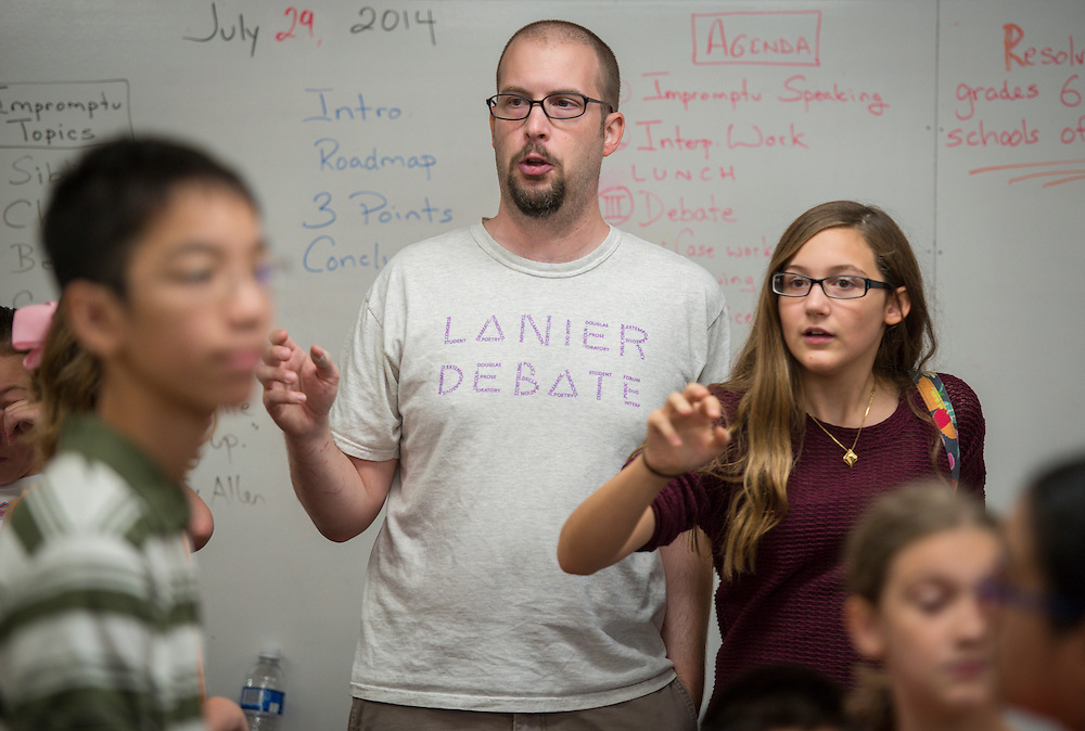 Students participate in a debate camp at Lanier Middle School, July 29, 2014.