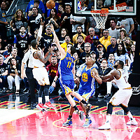 09 June 2017: Cleveland Cavaliers guard Kyrie Irving (2) takes a jump shot over Golden State Warriors guard Klay Thompson (11) during the Cleveland Cavaliers 137-11 victory over the Golden State Warriors, in game 4 of the 2017 NBA Finals, at  the Quicken Loans Arena, Cleveland, Ohio, USA.
