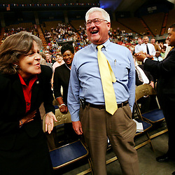 Kyle Green | The Roanoke Times<br /> August 28, 2006 City Council members Gwendolyn W. Mason (left), Beverly T. Fitzpatrick, Jr. (middle), and Alfred T. Dowe, Jr. (right), laugh during the keynote address of Vicki Sanderson (not pictured) during the Roanoke City Public School Convocation 2006 held at the Roanoke Civic Center on Monday morning.