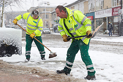 Council workers face a heavy work load as they lay grit on the pavements in Chippenham following overnight snow in north Wiltshire, Corsham, UK, January 18 2013. Photo by Mark Chappell / i-Images.