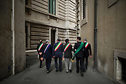 Some Italian Mayors walk around the institutional buildings in Rome. Demonstration promoted by the Mayors of provinces of Abruzzo to demand the amendment of the Decree on the earthquake. Rome 2 March 2017. Christian Mantuano / OneShot