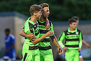 Forest Green Rovers Olly Mehew celebrates his goal with Forest Green Rovers Ben Jefford during the Pre-Season Friendly match between Forest Green Rovers and Cardiff City at the New Lawn, Forest Green, United Kingdom on 13 July 2016. Photo by Shane Healey.