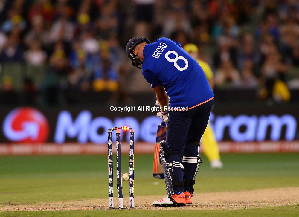 Stuart Broad  (ENG) out for a duck<br /> Australia vs England / Match 2<br /> 2015 ICC Cricket World Cup / Pool A<br /> MCG / Melbourne Cricket Ground <br /> Melbourne Victoria Australia<br /> Saturday 14 February 2015<br /> &copy; Sport the library / Jeff Crow