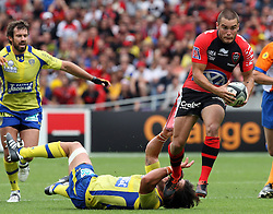Alexis Pallison of Toulon in action during the French Top 14 Semi Final match between ASM Clermont Auvergne and RC Toulon at the Stade Municipal on June 3, 2012 in Toulouse, France.