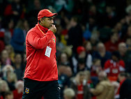 Head Coach Toutai Kefu of Tonga during the pre match warm up<br /> <br /> Photographer Simon King/Replay Images<br /> <br /> Under Armour Series - Wales v Tonga - Saturday 17th November 2018 - Principality Stadium - Cardiff<br /> <br /> World Copyright © Replay Images . All rights reserved. info@replayimages.co.uk - http://replayimages.co.uk