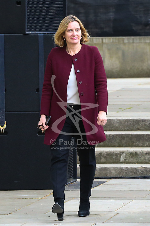 Home Secretary Amber Rudd arrives in Parliament Square.<br /> A statue designed by Turner Prize-winning artist Gillian Wearing OBE of suffragist leader Millicent Fawcett is unveiled in Parliament Square by XXXX. The sculpture is the first-ever monument to a woman and the first designed by a woman to stand within the square and follows the successful campaign by feminist campaigner Caroline Criado-Perez who organised an 85,000 signature petition. London, April 24 2018.