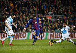 December 17, 2017 - Barcelona, Catalonia, Spain - Celso Borges, Juanfran and Leo Messi during the La Liga match between FC Barcelona v Real Club Deportivo de La Coruna, in Barcelona, on December 17, 2017. (Credit Image: © Joan Valls/NurPhoto via ZUMA Press)