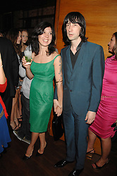 BOBBY GILLESPIE and his wife KATY ENGLAND at a party hosted by Belvedere Vodka and Jade Jagger to launch The Belvedere Jagger Dagger cocktail held at Automat, Berkeley Street, London on 8th May 2008.<br /><br />NON EXCLUSIVE - WORLD RIGHTS ******(EMBARGOED FOR PUBLICATION IN UK MAGAZINES UNTIL 2 MONTHS AFTER CREATE DATE AND TIME)****** www.donfeatures.com  +44 (0) 7092 235465