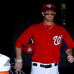 March 4, 2011; Viera, FL, USA; Washington Nationals right fielder Bryce Harper (34) walks into the dug out before a spring training exhibition game against the Atlanta Braves at Space Coast Stadium.  Mandatory Credit: Derick E. Hingle