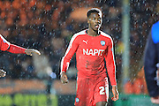 Gboly Ariyibi sent off during the Sky Bet League 1 match between Rochdale and Chesterfield at Spotland, Rochdale, England on 9 January 2016. Photo by Daniel Youngs.