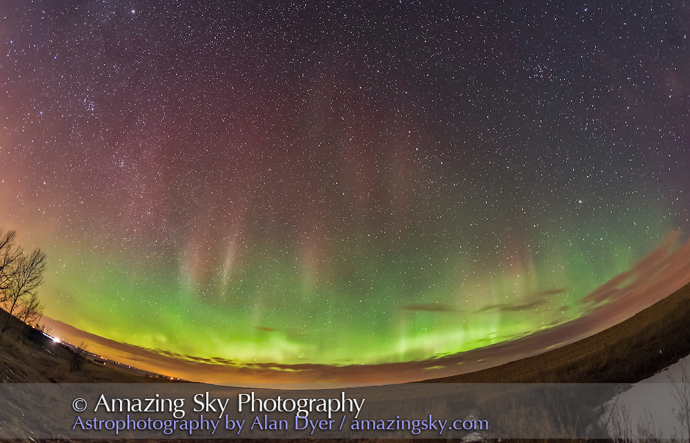An short-lived but moderate display of aurora, March 1, 2017, from home, across the northern sky. The Big Dipper is near centre. <br /> <br /> A single 30-second exposure with the 12mm Rokinon lens at f/2.8 and Nikon D750 at ISO 3200.