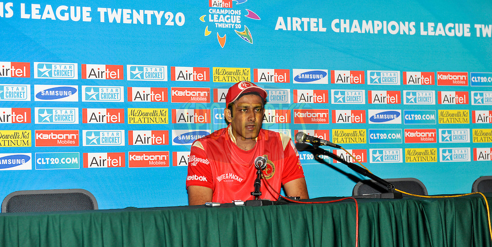 Anil Kumble of Royal Challengers Bangalore at the Press Coference after  match 11 of the Airtel CLT20 between The South Australian Redbacks and The Royal Challengers Bangalore held at Kingsmead Stadium in Durban on the 17 September 2010..Photo by: Gerhard Duraan/SPORTZPICS/CLT20.