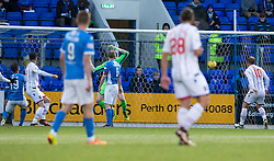 Ross County's Christopher Routis (4) scoring their second goal. half time : St Johnstone 0 v 2 Ross County. SPFL Ladbrokes Premiership game played 19/11/2016 at St Johnstone's home ground, McDiarmid Park.