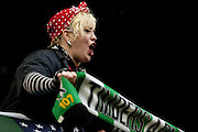 Oct. 27, 2012 - Portland, Oregon, US - A Portland ''Timbers Army'' fan cheers her team in the last game of the season. (Credit Image: © Ken Hawkins/ZUMAPRESS.com)