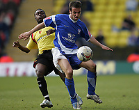 Photo: Lee Earle.<br /> Watford v Ipswich Town. Coca Cola Championship. 17/04/2006. Ipswich's Sito Castro (R) holds off Anthony McNamee.