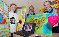 Sarah Ryan , Martha Gilinska and Maria Donohue from Scoil Chroi Naofa Athenry at the Medtronic Community Event , comprising of projects about Healthy Living and the heart, KNEX finals and Lean Sigma catapult competition organised by the Galway Education Centre at the Radisson Blu Hotel Galway. Photo:Andrew Downes.