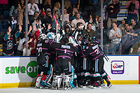 KELOWNA, BC - SEPTEMBER 21: The Kelowna Rockets celebrates the overtime game winning goal against the Spokane Chiefs at Prospera Place on September 21, 2019 in Kelowna, Canada. (Photo by Marissa Baecker/Shoot the Breeze)