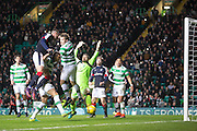 Dundee's Marcus Haber heads in an effort which hit the Celtic post - Celtic v Dundee in the Ladbrokes Scottish Premiership at Celtic Park, Glasgow. Photo: David Young<br /> <br />  - © David Young - www.davidyoungphoto.co.uk - email: davidyoungphoto@gmail.com