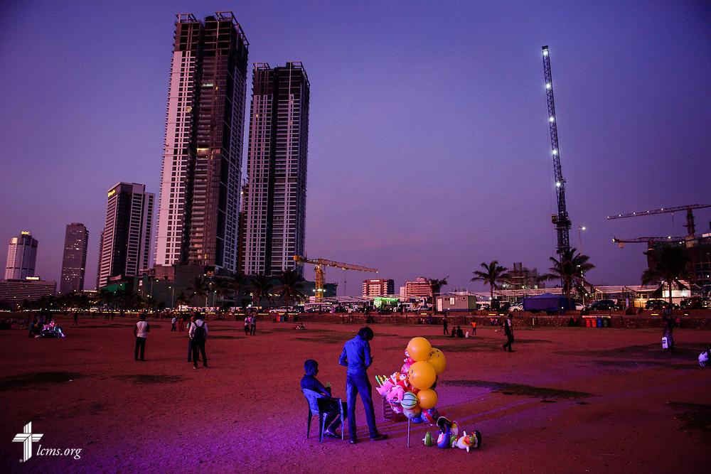 Vendors wait for customers during sunset at Galle Face Green on Thursday, Jan. 18, 2018, in Colombo, Sri Lanka. LCMS Communications/ Erik M. Lunsford