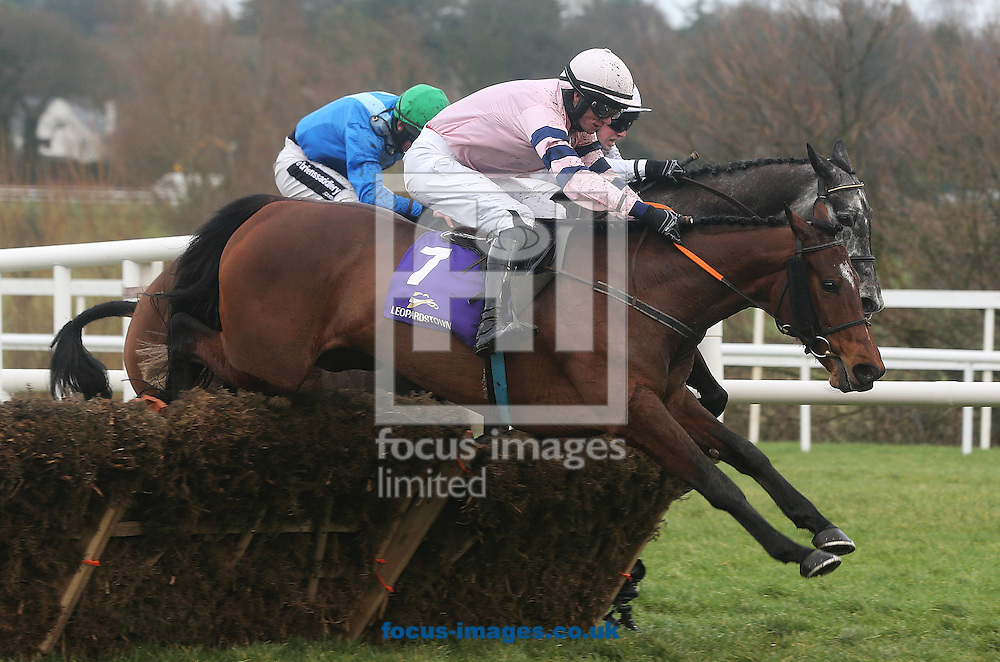 Sean McDermott on Who's That (No.7) lands in front to win the EBF mares Handicap Hurdle during the Irish Gold Cup meeting at Leopardstown Racecourse, Eire.<br /> Picture by Lorraine O'Sullivan/Focus Images Ltd +353 872341584<br /> 06/02/2016