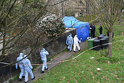 © Licensed to London News Pictures. 07/03/2019. London, UK. Police forensics at a property in Kew, West London, where the body of a woman has been discovered by police in a shallow grave in the garden. Laureline Garcia-Bertaux, 34, from Richmond, was reported missing after she did not turn up for work on Monday, 4 March..  Photo credit: Guilhem Baker/LNP